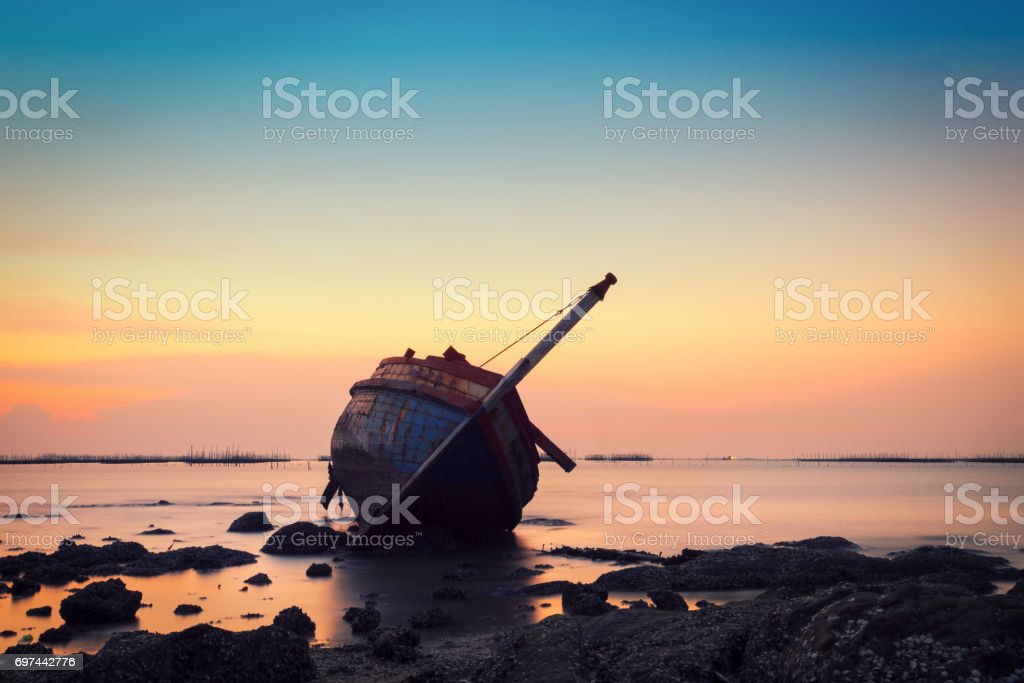 Shipwreck in Angsila Chonburi with sunset stock photo