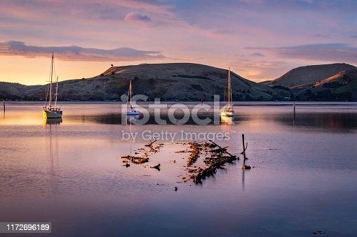 Shipwreck in Deborah Bay at sunrise, Dunedin New Zealand