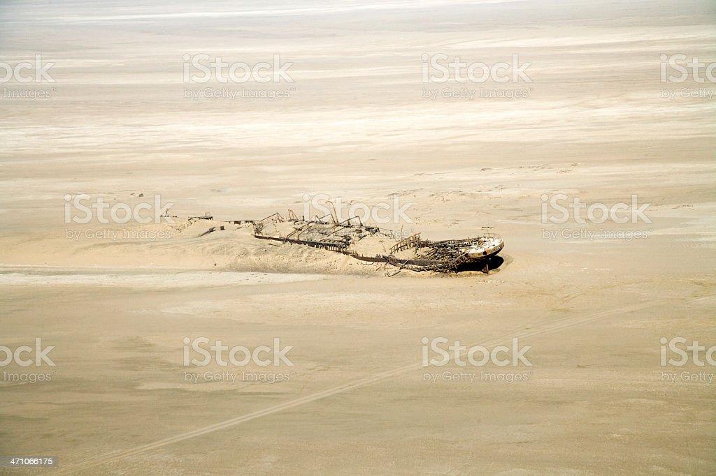 Shipwreck in the Desert, Skeleton Coast Namibia royalty-free stock photo