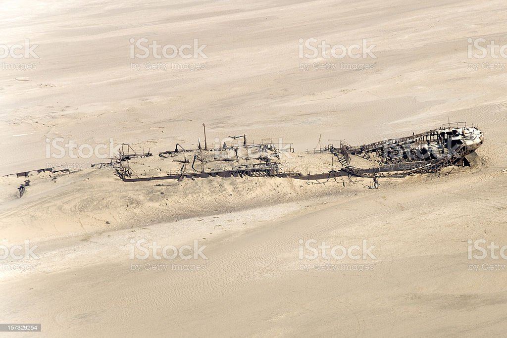 Shipwreck in the Namibian Desert Skeleton Coast (Aerial View) royalty-free stock photo