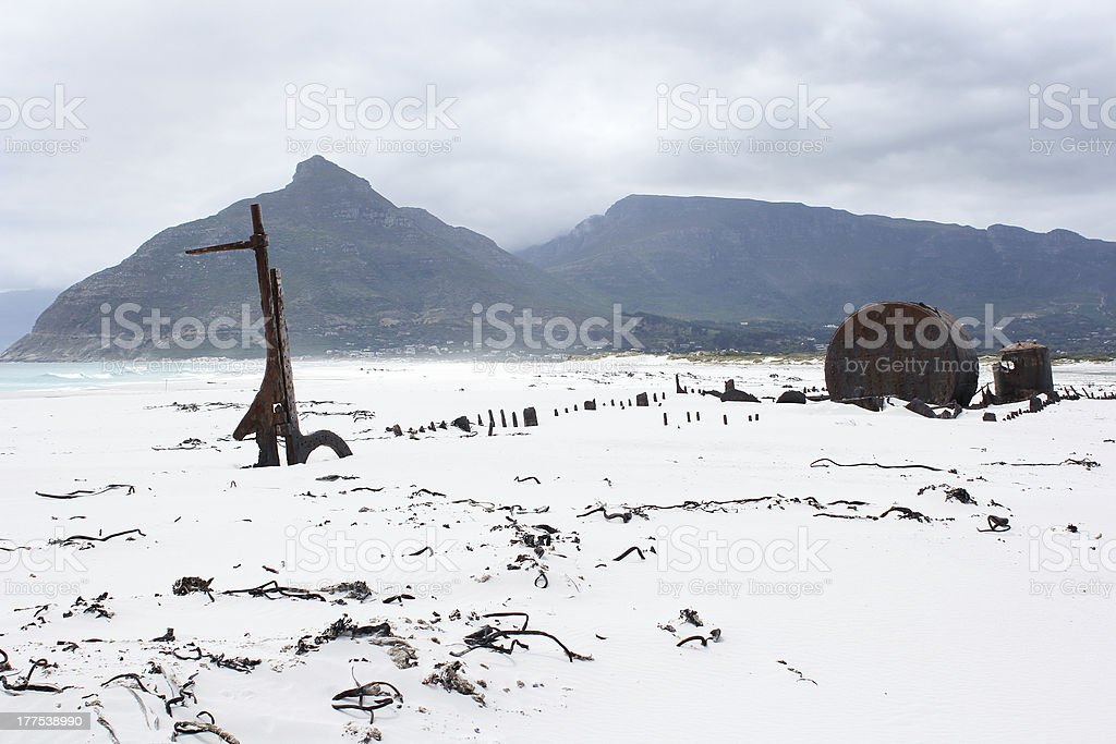 Shipwreck Kakapo at the beach of kommetjie royalty-free stock photo