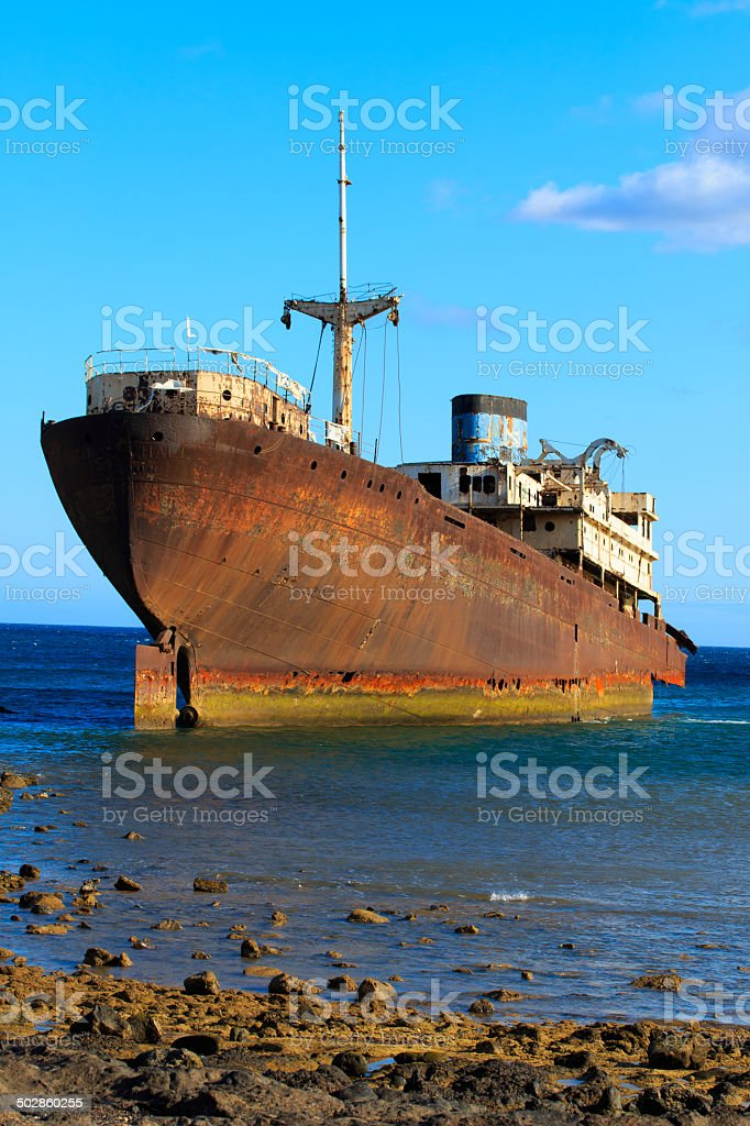 Shipwreck near Costa Teguise, Lanzarote, Canary Islands, Spain stock photo