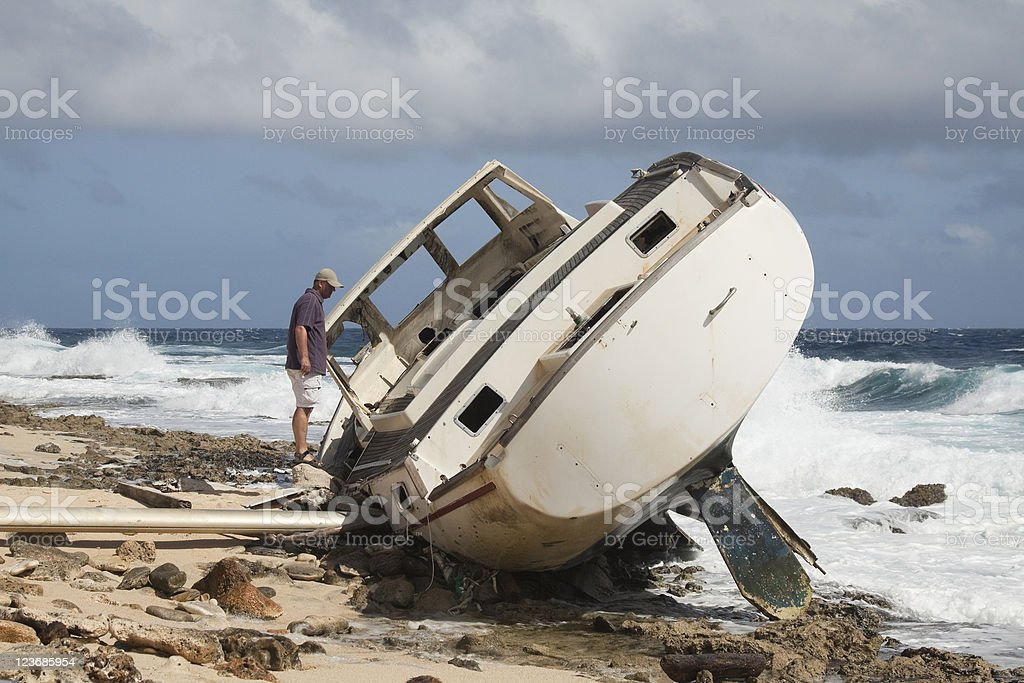 Shipwreck of a yacht royalty-free stock photo