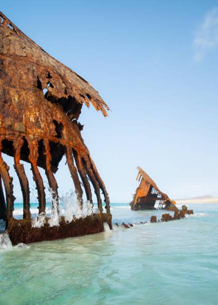 Shipwreck Of Boa Vista, Cape Verde stock photo