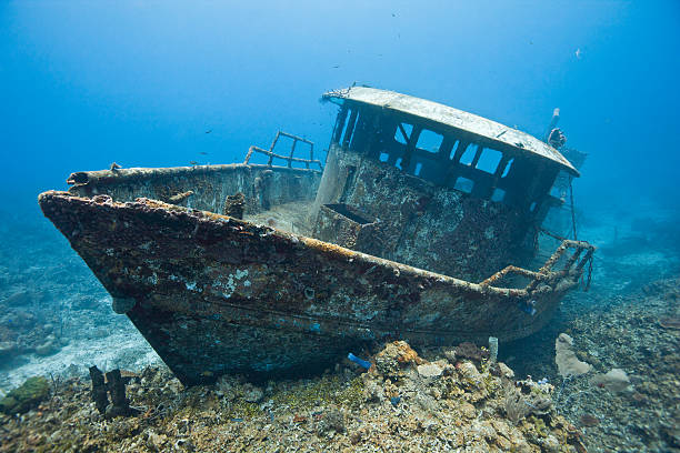 A shipwreck of the boat Mr. Bud The wreck of the Mr. Bud, a former shrimping boat, scuttled off the island of Roatan, Honduras and now used as a scuba diving site. roatan stock pictures, royalty-free photos & images