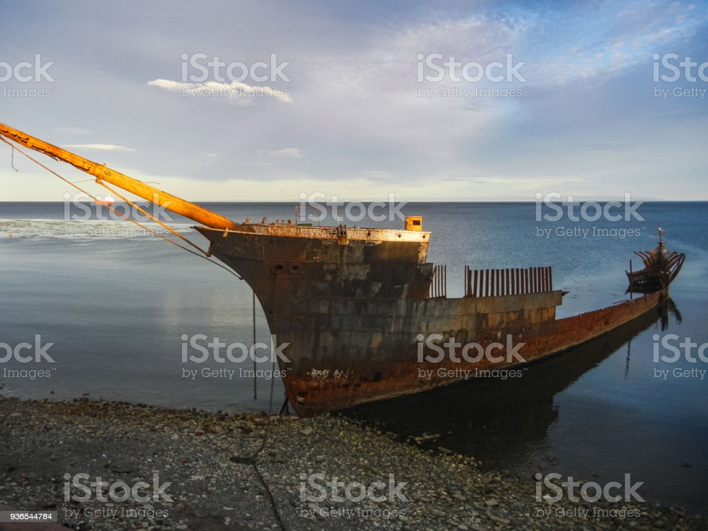 Shipwreck of the lord lonsdale frigate in punta arenas chile stock photo
