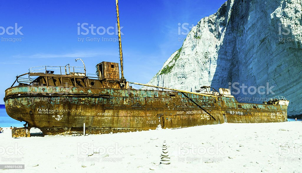Shipwreck of the Navagio Beach in Zakynthos Greece royalty-free stock photo