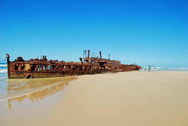 Shipwreck off Fraser Island stock photo