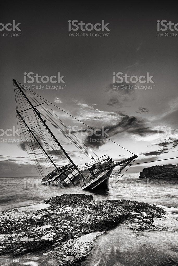 Shipwreck off the coast of Malta stock photo
