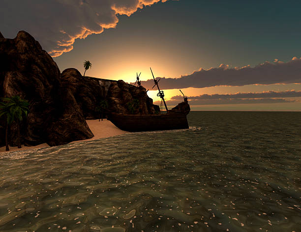 Shipwreck on a tropical island at sunset stock photo