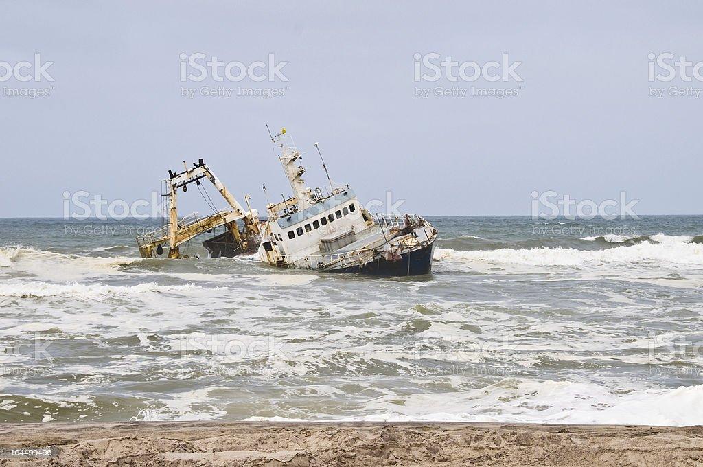 Shipwreck on beach, Skeleton Coast stock photo