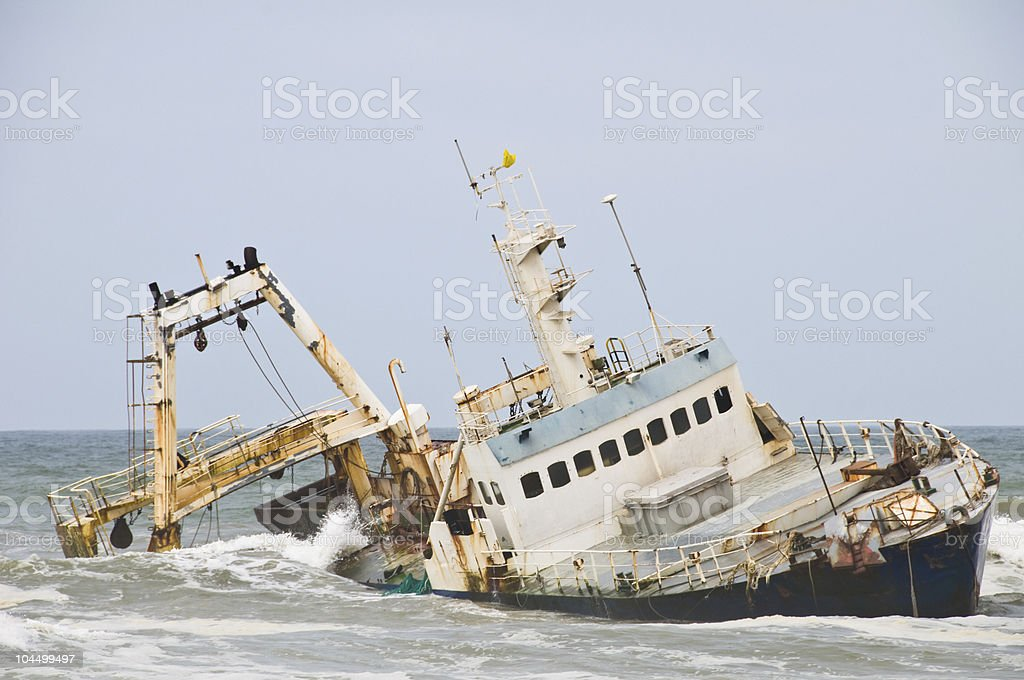 Shipwreck on Namibia coast stock photo