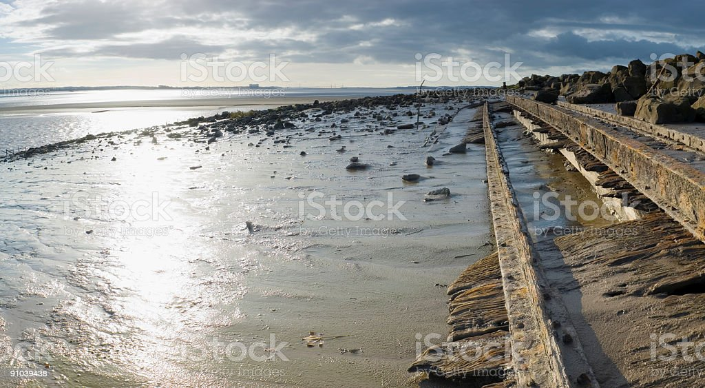 Shipwreck on shore royalty-free stock photo