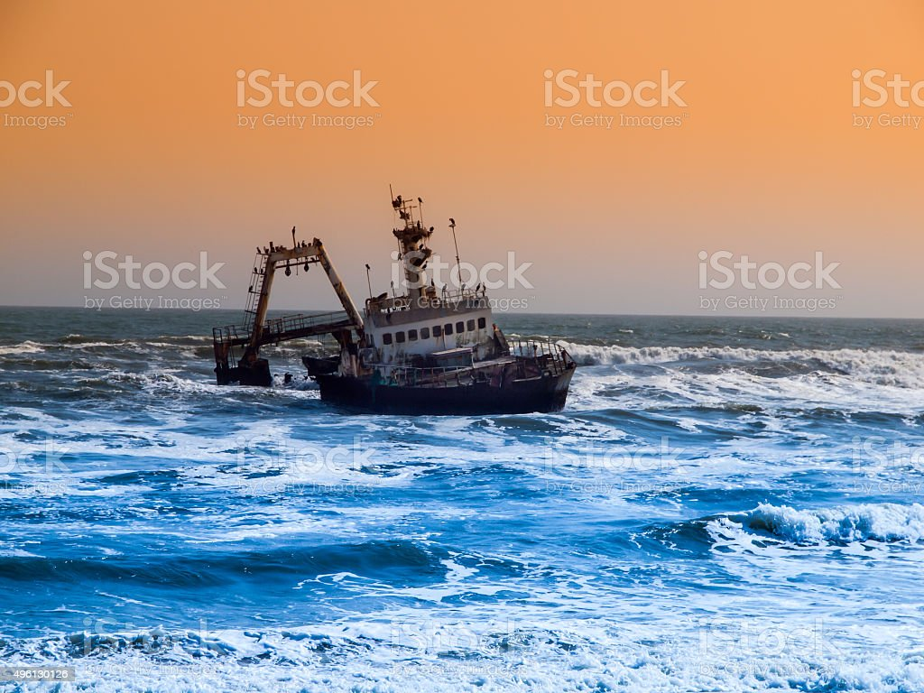 Shipwreck on Skeleton Coast in Namibia stock photo