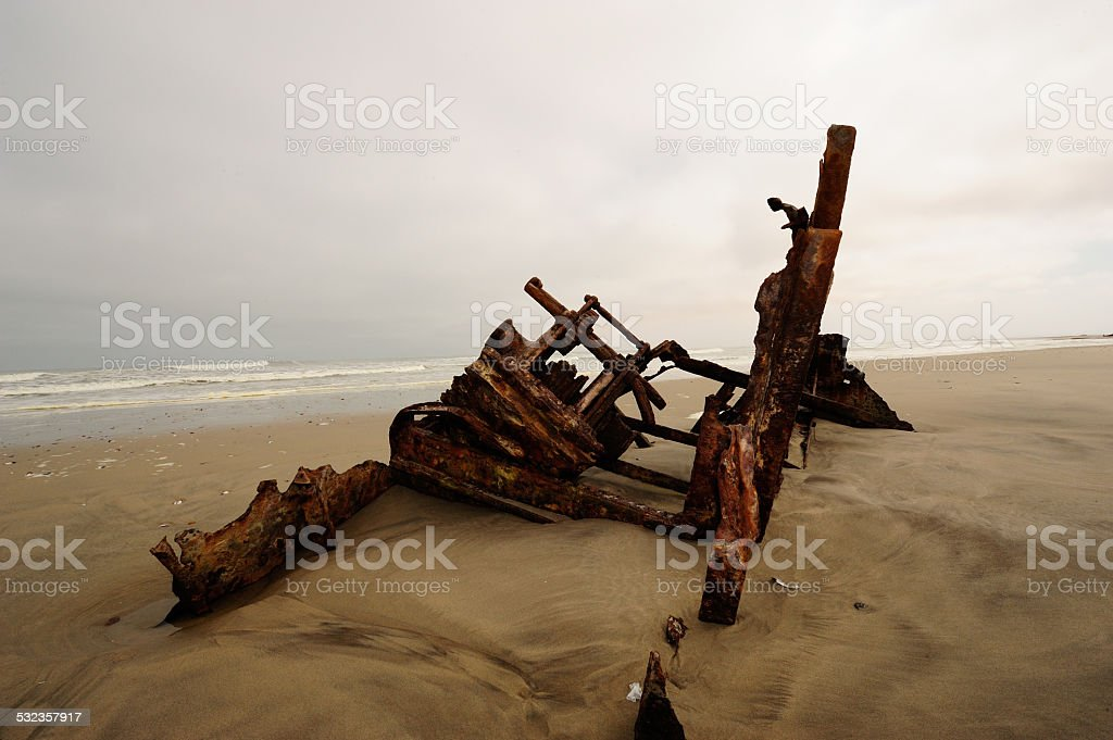 Shipwreck on Skeleton Coast stock photo