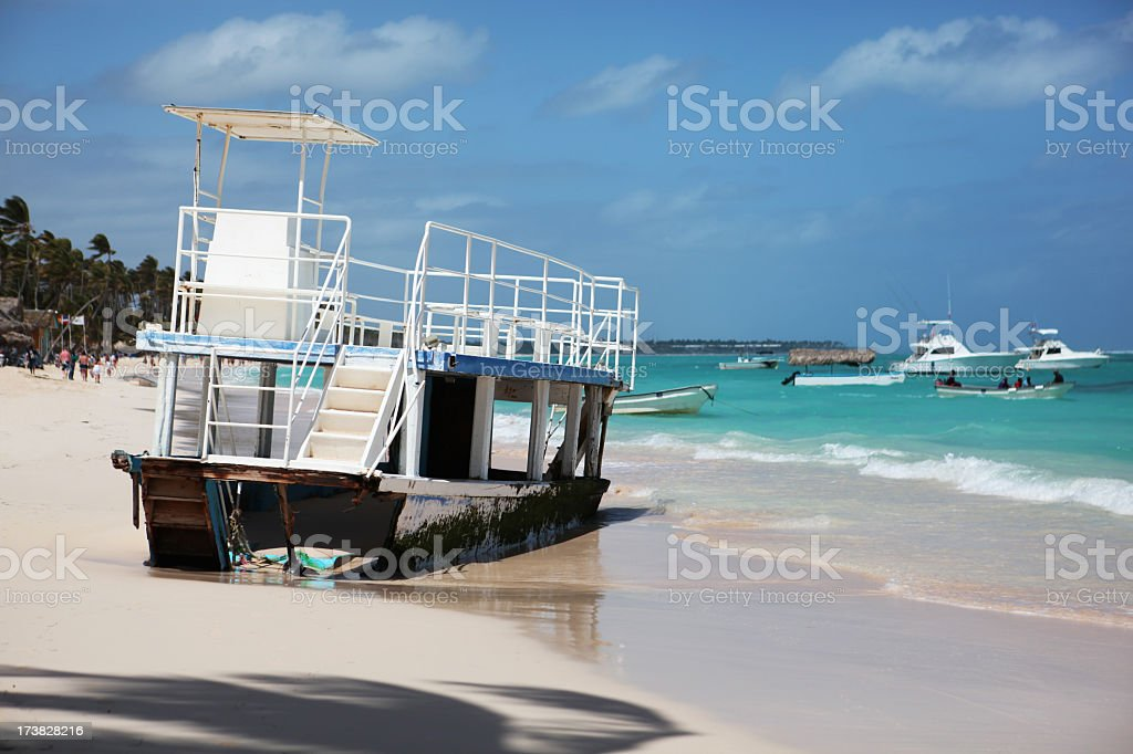 Shipwreck on the Beach stock photo