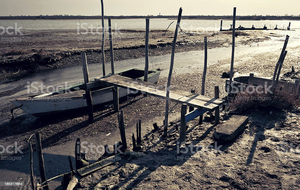 Shipwreck restng on seabed stock photo