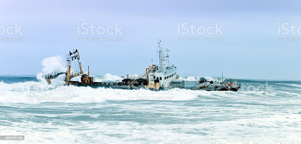 Shipwreck stranded at the Skeleton Coast, Cape Cross,Namibia stock photo