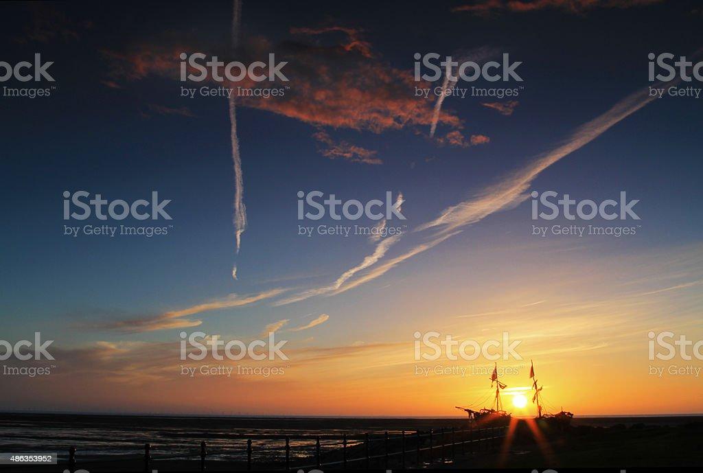 Shipwreck Sunset stock photo