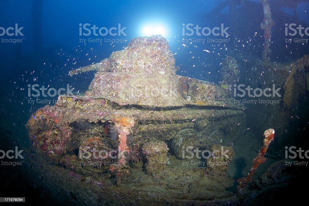 Shipwreck tank stock photo
