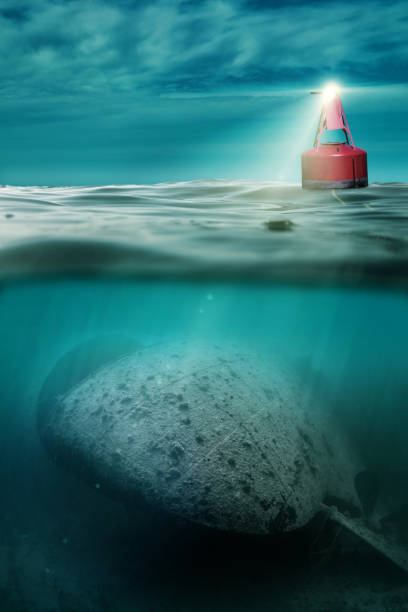shipwreck under the buoy - wreck diving stock pictures, royalty-free photos & images