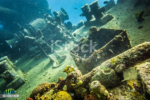 istock Shipwreck underwater at the depth in Caribbean. 904887508