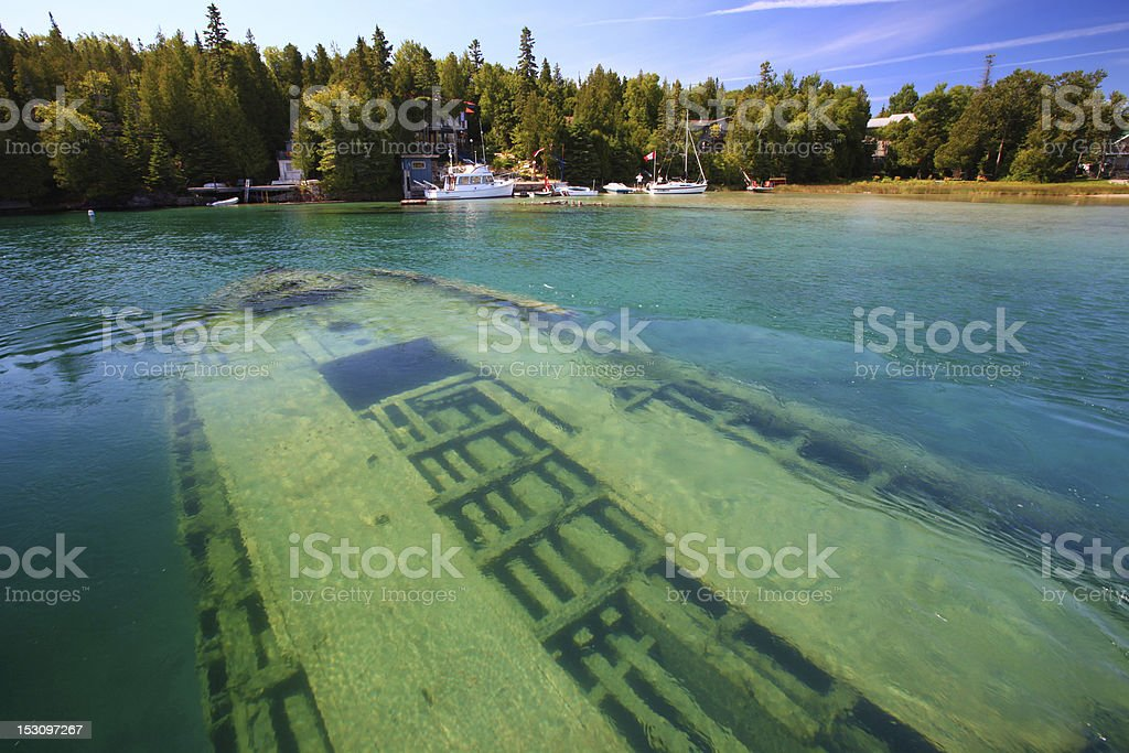 Shipwreck underwater in lake Huron, Tobermory, Ontario stock photo