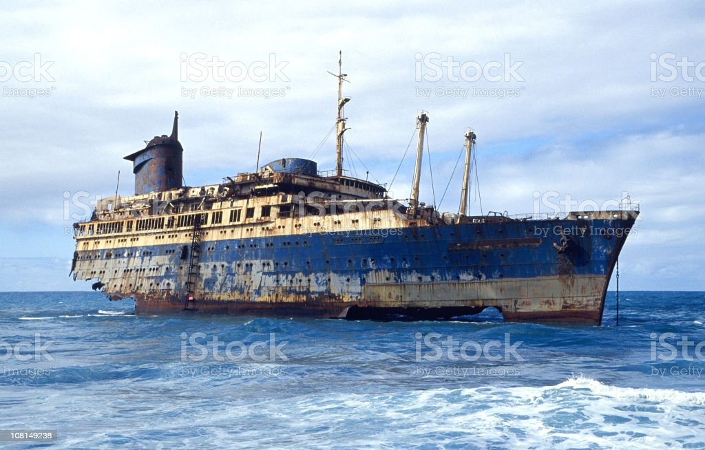 shipwrecked ocean liner stock photo