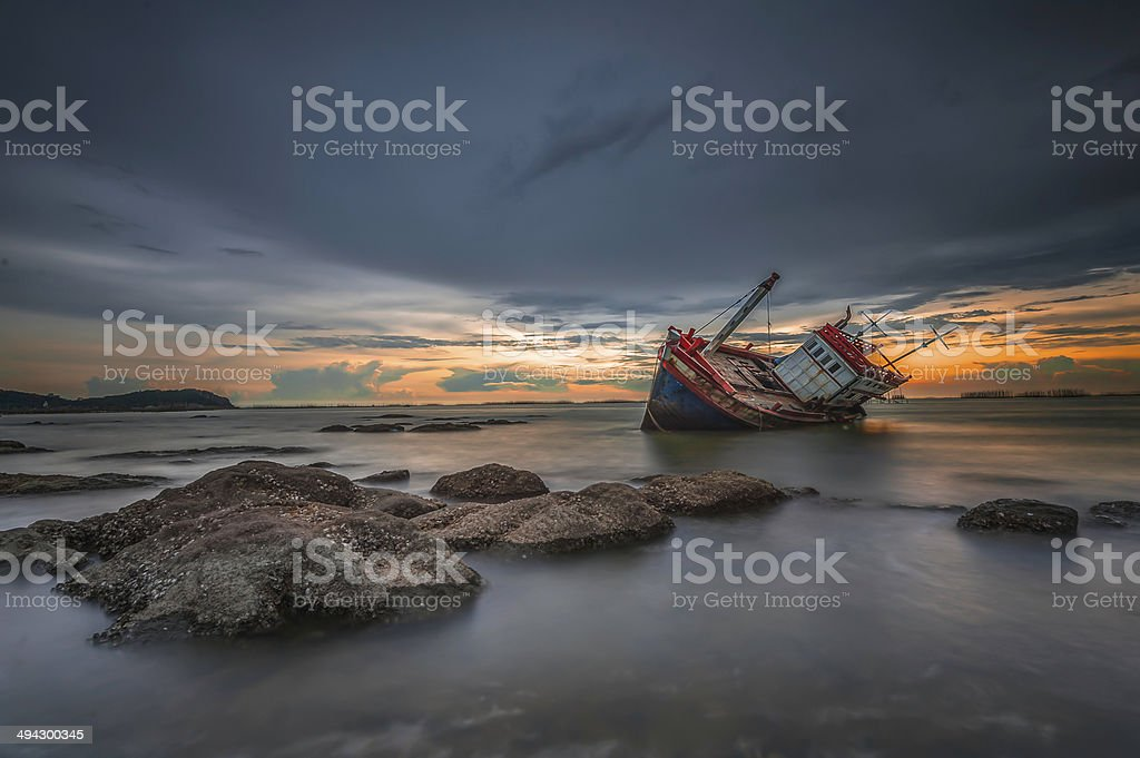 shipwrecked stock photo