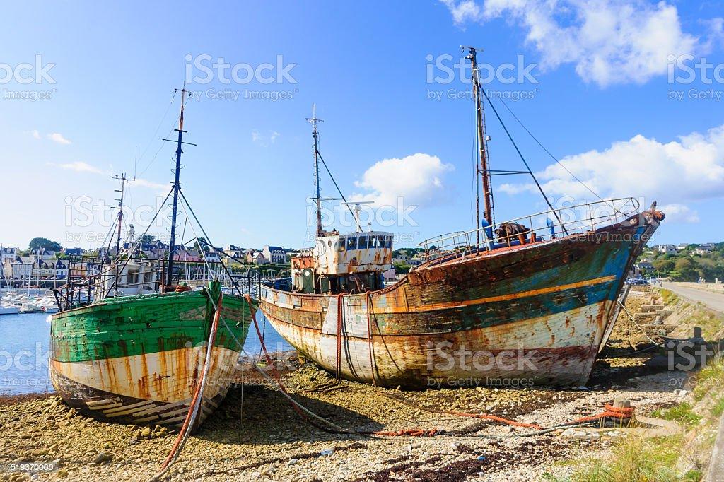 Shipwrecks in Camaret-Sur-Mer stock photo