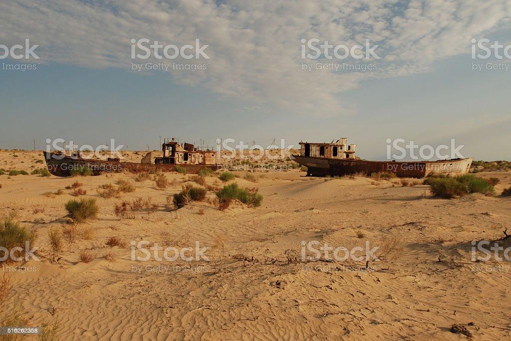 Shipwrecks in Monyaq stock photo