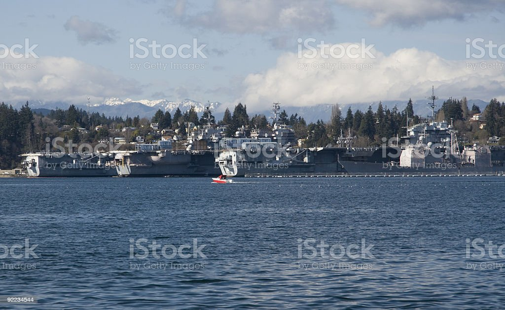 Shipyard and small pleasure boat stock photo