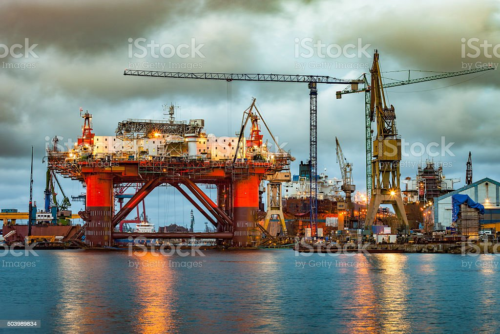 Shipyard at dusk stock photo