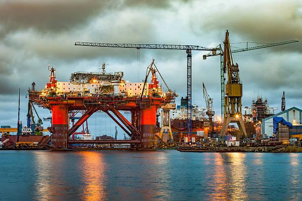 Shipyard at dusk stock photo