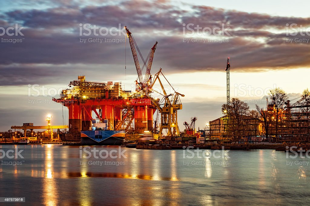 Shipyard at morning stock photo