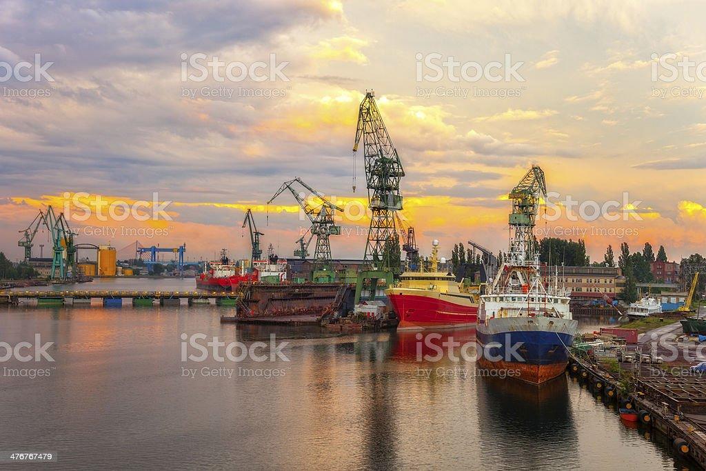 Shipyard at sunset stock photo