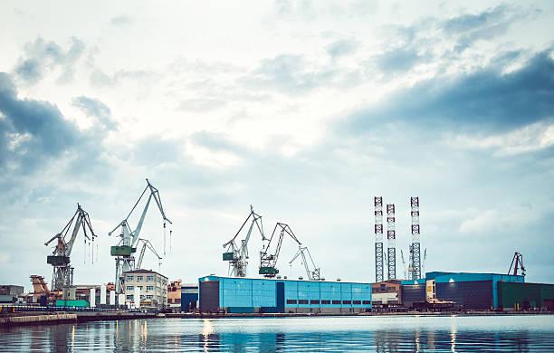 Shipyard at the seaside stock photo