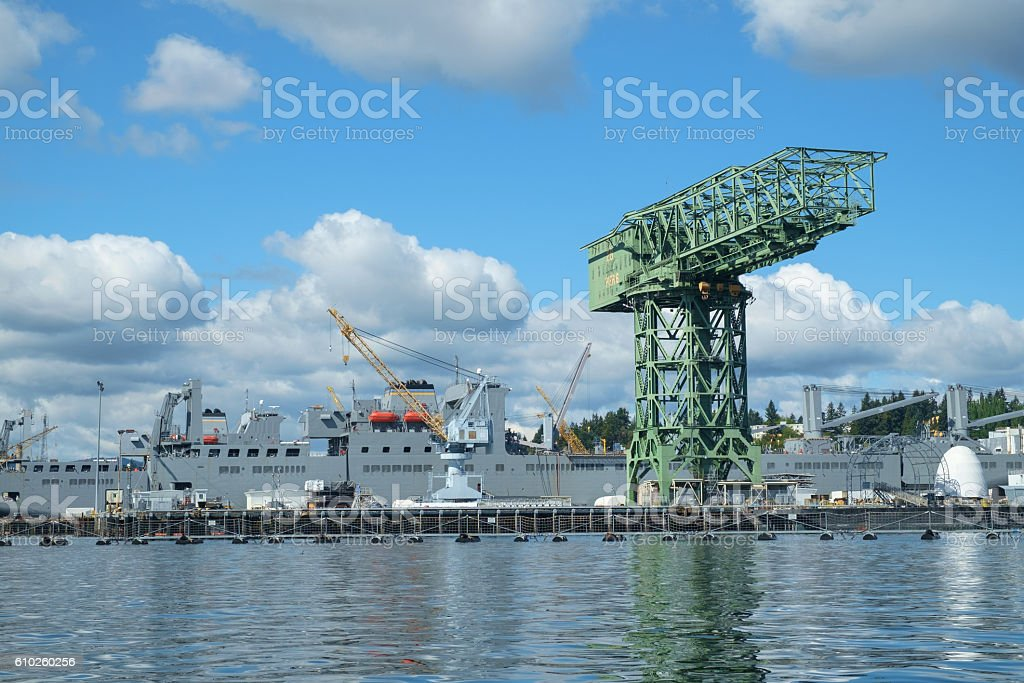 Shipyard crane stock photo