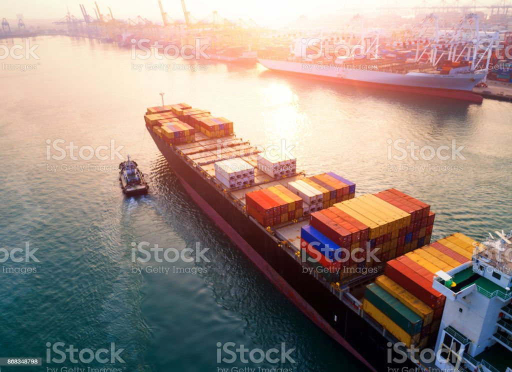 shipyard for Logistic stock photo