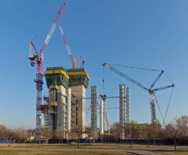 shipyard for the construction of a new skyscraper in Turin Italy stock photo