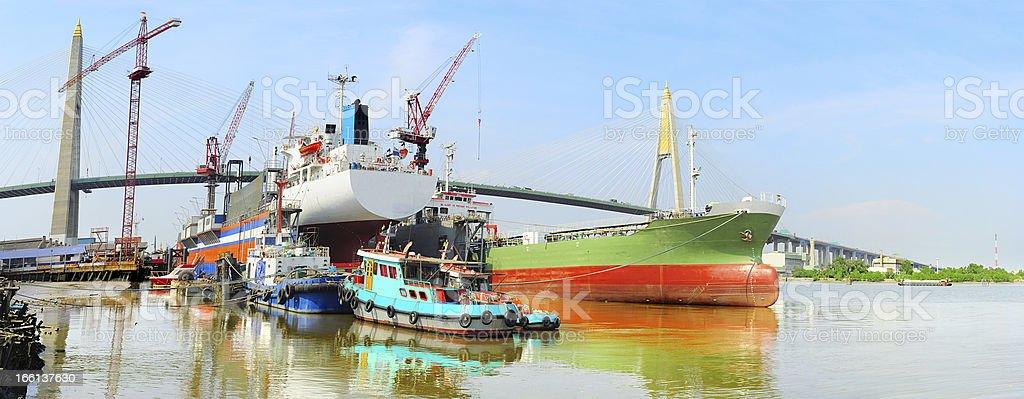 Shipyard in Bangkok royalty-free stock photo