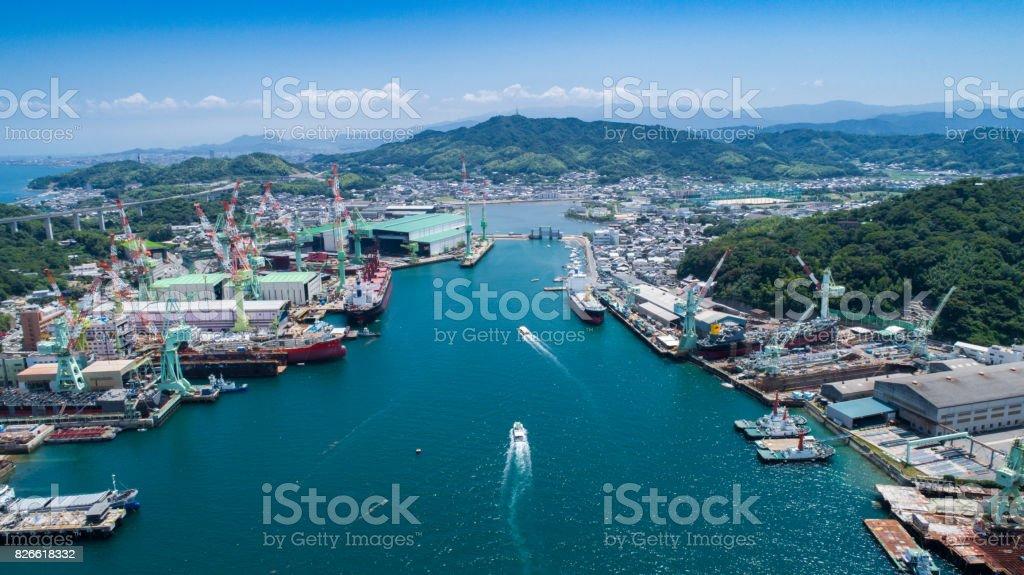Shipyard (dock) in Seto Inland Sea, Japan stock photo