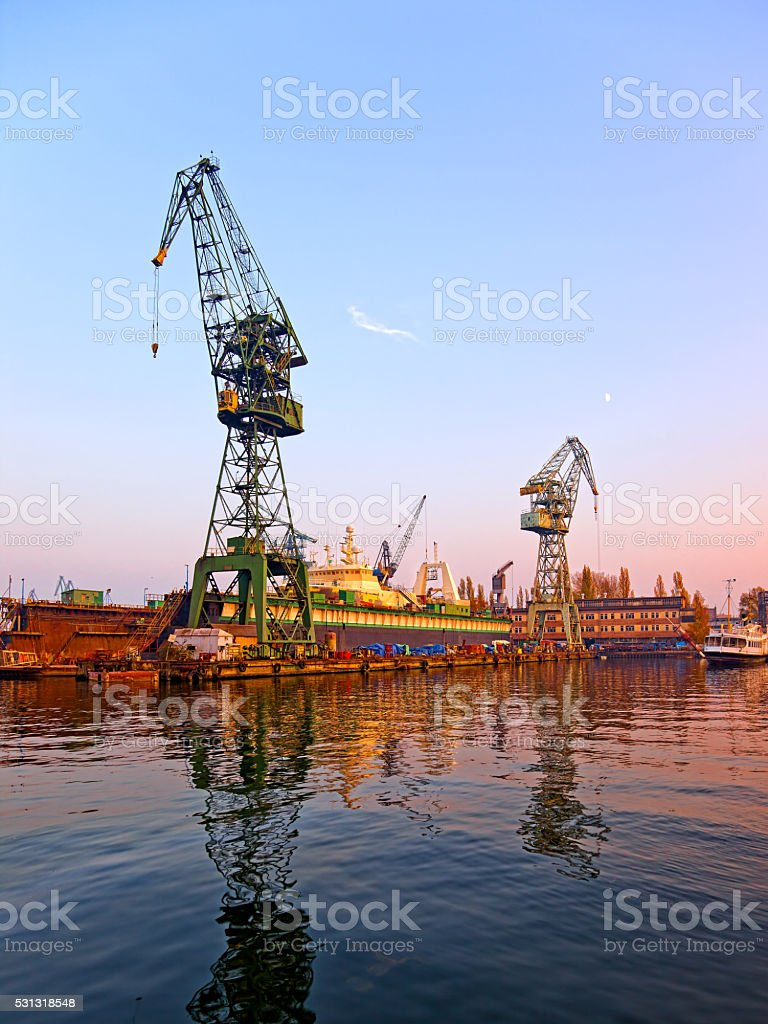 Shipyard - industrial area stock photo
