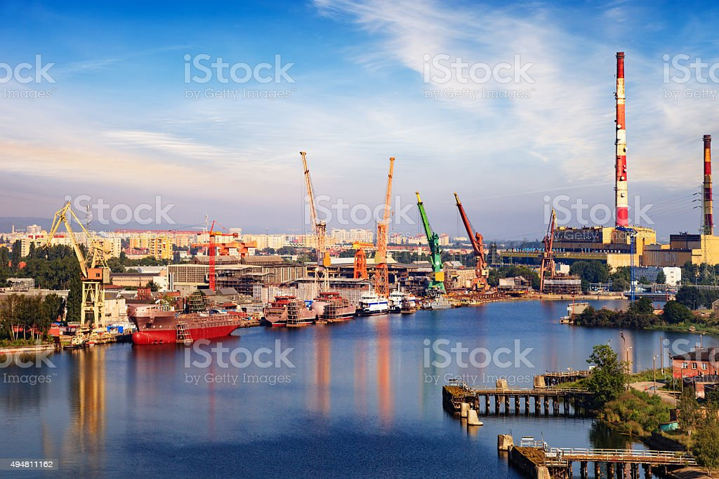 Shipyard industry stock photo