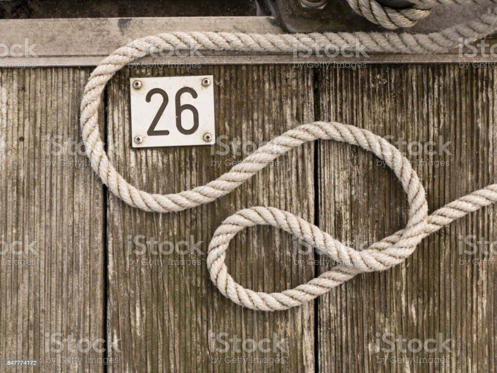 A shipyard is located on old wood at number 26 stock photo
