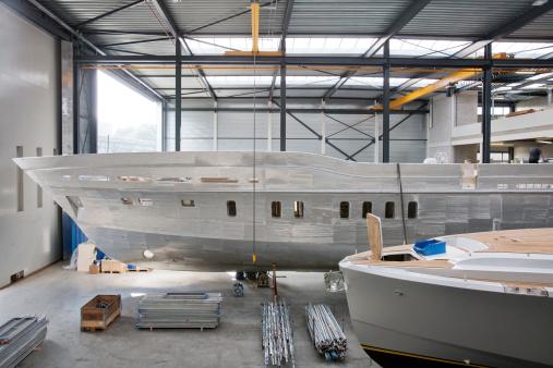 Shipyard where luxury yachts are built