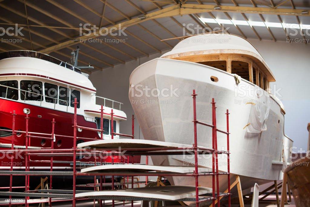 Shipyard. Yacht Manufacturing stock photo
