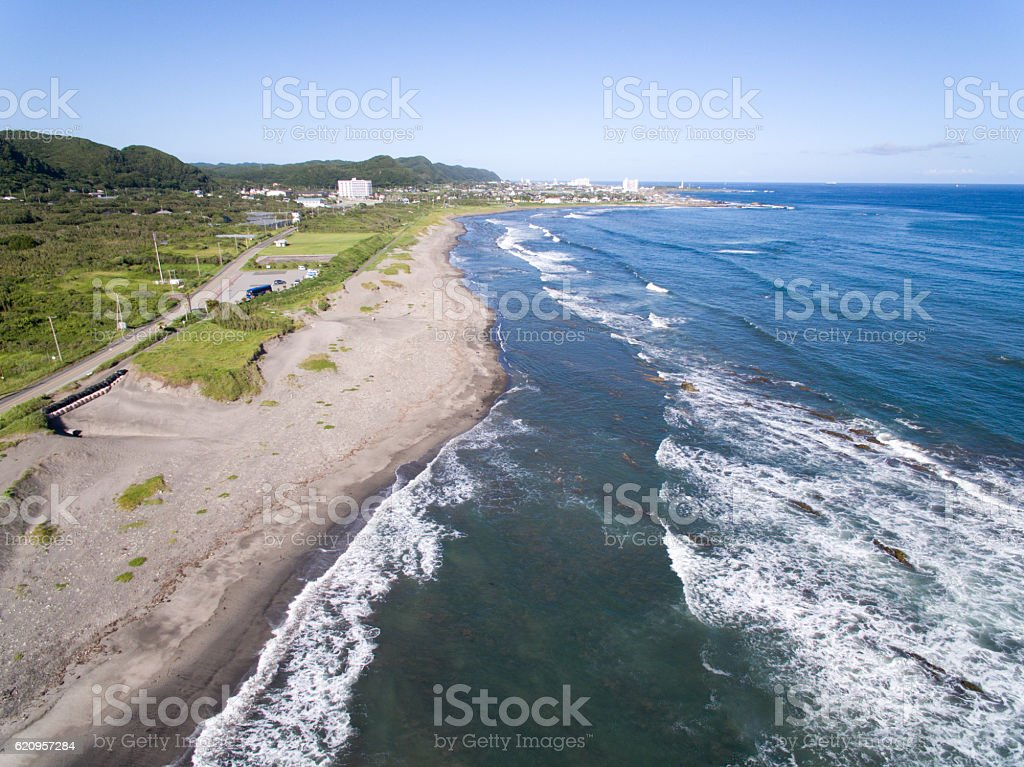 Shirahama shore Minamiboso, Chiba, Japan aerial view stock photo