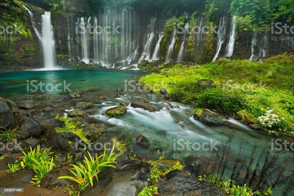 Shiraito Falls near Mount Fuji, Japan stock photo