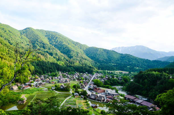 Shirakawa-go in the Spring Evening, UNESCO World Heritage Sites, Japan Shirakawa-go in the Spring Evening, UNESCO World Heritage Sites, Japan satoyama scenery stock pictures, royalty-free photos & images
